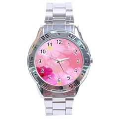 Cosmos Flower Floral Sunflower Star Pink Frame Stainless Steel Analogue Watch by Mariart
