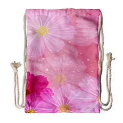 Cosmos Flower Floral Sunflower Star Pink Frame Drawstring Bag (large) by Mariart