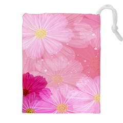 Cosmos Flower Floral Sunflower Star Pink Frame Drawstring Pouches (xxl) by Mariart