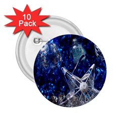 Christmas Silver Blue Star Ball Happy Kids 2 25  Buttons (10 Pack)