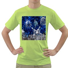 Christmas Silver Blue Star Ball Happy Kids Green T Shirt by Mariart