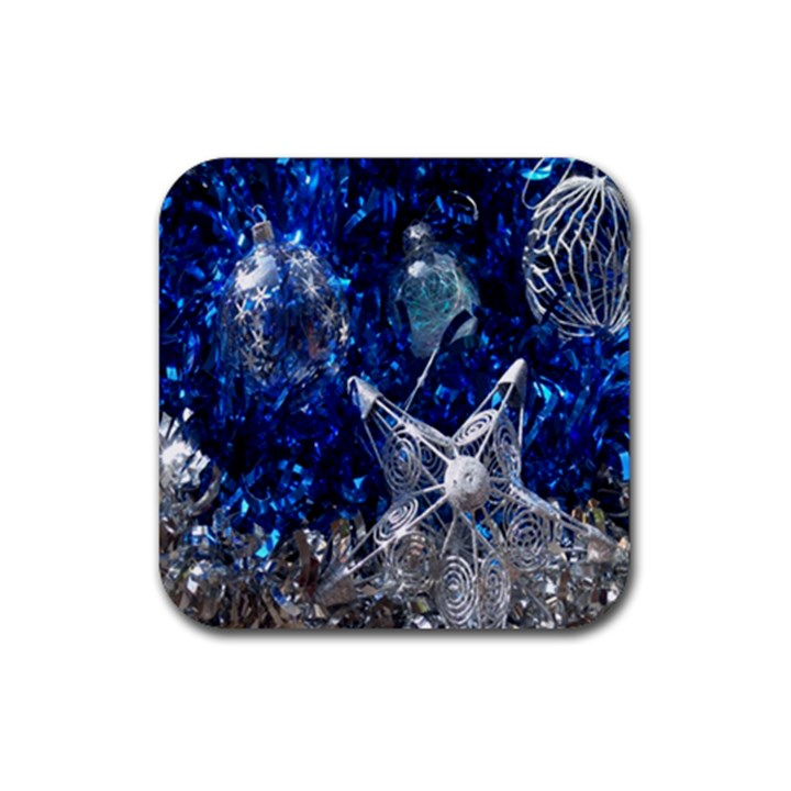 Christmas Silver Blue Star Ball Happy Kids Rubber Square Coaster (4 pack)
