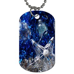 Christmas Silver Blue Star Ball Happy Kids Dog Tag (one Side) by Mariart