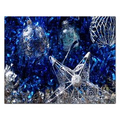 Christmas Silver Blue Star Ball Happy Kids Rectangular Jigsaw Puzzl by Mariart