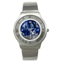 Christmas Silver Blue Star Ball Happy Kids Stainless Steel Watch by Mariart