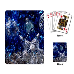 Christmas Silver Blue Star Ball Happy Kids Playing Card by Mariart