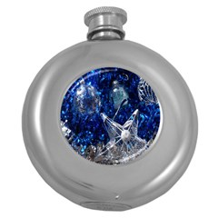 Christmas Silver Blue Star Ball Happy Kids Round Hip Flask (5 Oz) by Mariart