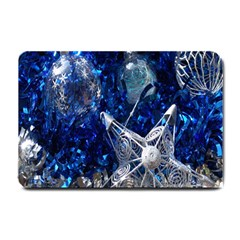 Christmas Silver Blue Star Ball Happy Kids Small Doormat  by Mariart