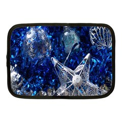 Christmas Silver Blue Star Ball Happy Kids Netbook Case (medium)  by Mariart