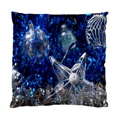 Christmas Silver Blue Star Ball Happy Kids Standard Cushion Case (one Side)