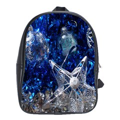 Christmas Silver Blue Star Ball Happy Kids School Bag (large)