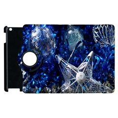 Christmas Silver Blue Star Ball Happy Kids Apple Ipad 2 Flip 360 Case by Mariart