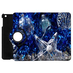 Christmas Silver Blue Star Ball Happy Kids Apple Ipad Mini Flip 360 Case by Mariart