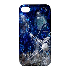 Christmas Silver Blue Star Ball Happy Kids Apple Iphone 4/4s Hardshell Case With Stand by Mariart
