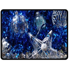 Christmas Silver Blue Star Ball Happy Kids Double Sided Fleece Blanket (large)  by Mariart