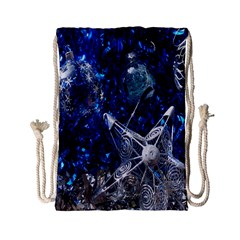 Christmas Silver Blue Star Ball Happy Kids Drawstring Bag (small)