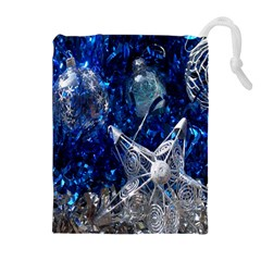 Christmas Silver Blue Star Ball Happy Kids Drawstring Pouches (extra Large)
