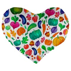 Pattern Autumn White Large 19  Premium Flano Heart Shape Cushions by Mishacat