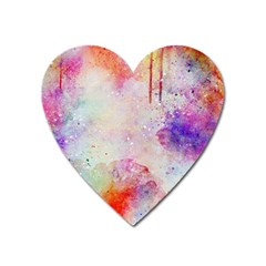 Watercolor Galaxy Purple Pattern Heart Magnet by paulaoliveiradesign