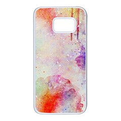 Watercolor Galaxy Purple Pattern Samsung Galaxy S7 White Seamless Case