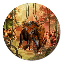 Steampunk, Steampunk Elephant With Clocks And Gears Magnet 5  (round) by FantasyWorld7