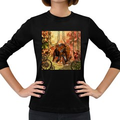 Steampunk, Steampunk Elephant With Clocks And Gears Women s Long Sleeve Dark T-shirts by FantasyWorld7