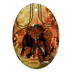Steampunk, Steampunk Elephant With Clocks And Gears Oval Ornament (two Sides) by FantasyWorld7