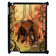Steampunk, Steampunk Elephant With Clocks And Gears Apple Ipad 2 Case (black) by FantasyWorld7