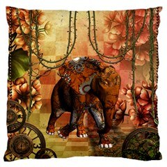 Steampunk, Steampunk Elephant With Clocks And Gears Large Flano Cushion Case (one Side) by FantasyWorld7