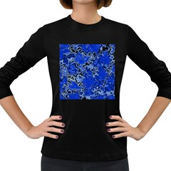 Wet Plastic, Blue Women s Long Sleeve Dark T Shirts by MoreColorsinLife