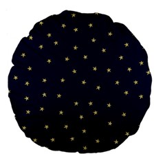 Navy/gold Stars Large 18  Premium Flano Round Cushions by Colorfulart23