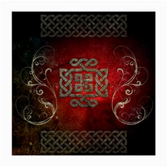 The Celtic Knot With Floral Elements Medium Glasses Cloth (2 Side) by FantasyWorld7