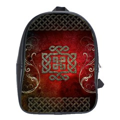 The Celtic Knot With Floral Elements School Bag (large) by FantasyWorld7