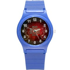 The Celtic Knot With Floral Elements Round Plastic Sport Watch (s) by FantasyWorld7