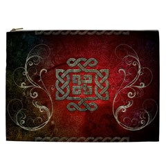 The Celtic Knot With Floral Elements Cosmetic Bag (xxl)  by FantasyWorld7