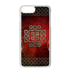 The Celtic Knot With Floral Elements Apple Iphone 7 Plus White Seamless Case by FantasyWorld7