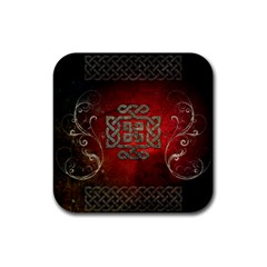 The Celtic Knot With Floral Elements Rubber Coaster (square)  by FantasyWorld7