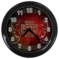 The Celtic Knot With Floral Elements Wall Clocks (black) by FantasyWorld7