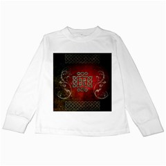 The Celtic Knot With Floral Elements Kids Long Sleeve T Shirts by FantasyWorld7