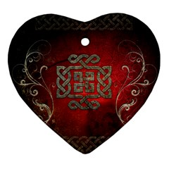 The Celtic Knot With Floral Elements Heart Ornament (two Sides) by FantasyWorld7