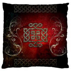 The Celtic Knot With Floral Elements Large Cushion Case (one Side) by FantasyWorld7
