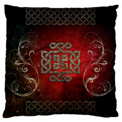 The Celtic Knot With Floral Elements Large Flano Cushion Case (one Side) by FantasyWorld7