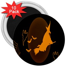 Day Hallowiin Ghost Bat Cobwebs Full Moon Spider 3  Magnets (10 Pack)  by Mariart