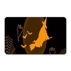 Day Hallowiin Ghost Bat Cobwebs Full Moon Spider Magnet (rectangular) by Mariart