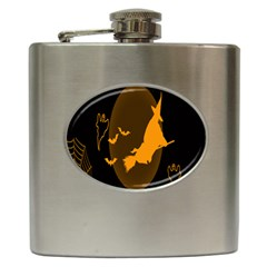 Day Hallowiin Ghost Bat Cobwebs Full Moon Spider Hip Flask (6 Oz) by Mariart