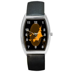 Day Hallowiin Ghost Bat Cobwebs Full Moon Spider Barrel Style Metal Watch by Mariart