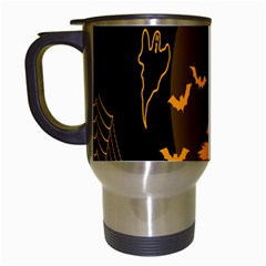 Day Hallowiin Ghost Bat Cobwebs Full Moon Spider Travel Mugs (white) by Mariart