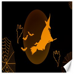 Day Hallowiin Ghost Bat Cobwebs Full Moon Spider Canvas 16  X 16   by Mariart