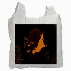 Day Hallowiin Ghost Bat Cobwebs Full Moon Spider Recycle Bag (two Side)  by Mariart