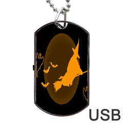 Day Hallowiin Ghost Bat Cobwebs Full Moon Spider Dog Tag Usb Flash (two Sides) by Mariart